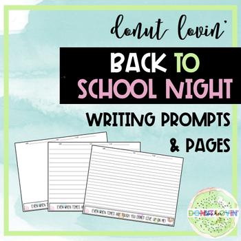 Donut Lovin' Back to School Night Writing Prompts