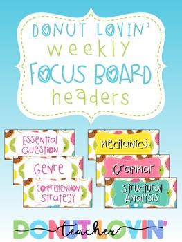 Donut Lovin' Weekly Focus Board Headers