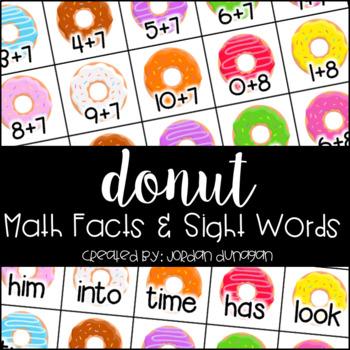 Donut Math Fact and Sight Word Flash Cards {Editable!}