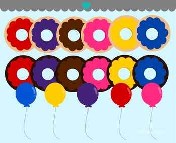 Donut balloons clipart commercial use