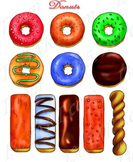 Donut Pastries Clip art Pack PNG & JPEG Format