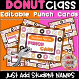 Donut Punch Cards Readin' Nuts Classroom Themed Decor  - Editable
