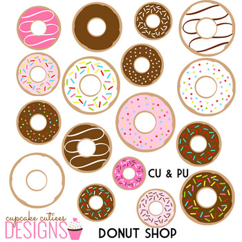 Donut Shop Digital Clip Art Illustrations Digital Graphics -Commercial Use