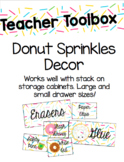 Donut Sprinkles Teacher Toolbox Labels (Editable)