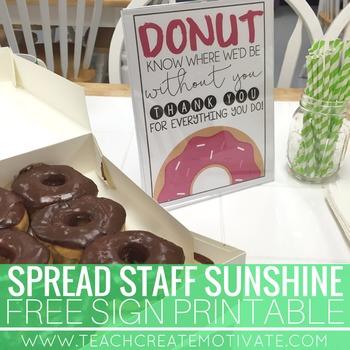 Donut Staff Appreciation Sign