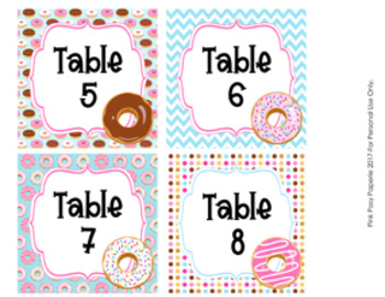 Donut Table Numbers