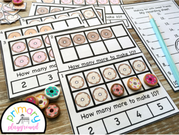 Donut Ten Frame Task Cards Making Ten with Sweet Friends