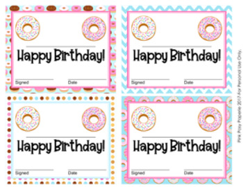 Donut Theme Birthday Certificates