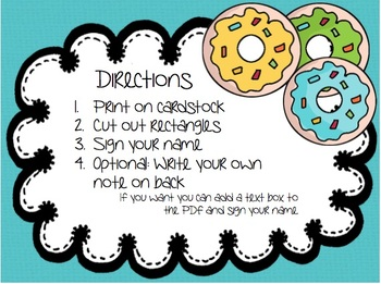 Donut Theme Encouragement Cards