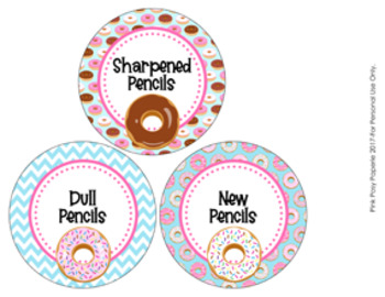 Donut Theme Pencil Caddy Labels
