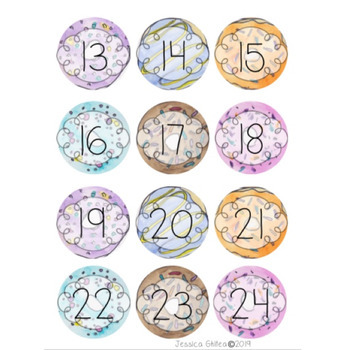 Donut Theme Watercolor Desk/Calendar Circle Numbers 1-100