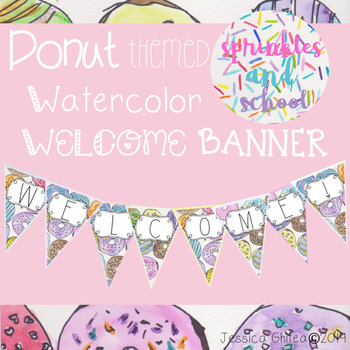 Donut Theme Watercolor Welcome Banner