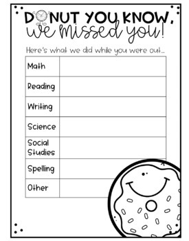 Donut Themed Absent Sheets