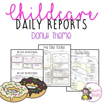 Donut Themed Childcare Daily Reports  (Daycare)
