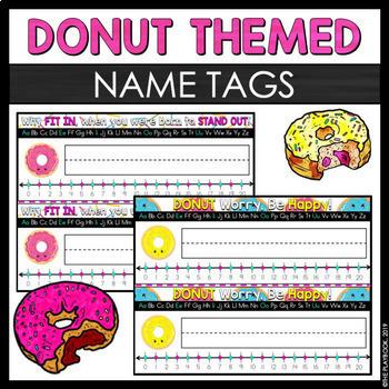 Donut Themed Name Tags - Classroom Decor