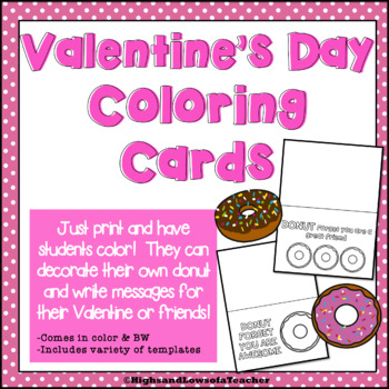 Donut-Themed Valentine's Day Printable Coloring Cards