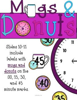 Donut Time Clock Labels: Donut Classroom Theme Decor