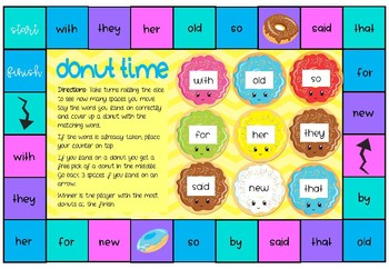 Donut Time - Sight Word Gameboard - Editable
