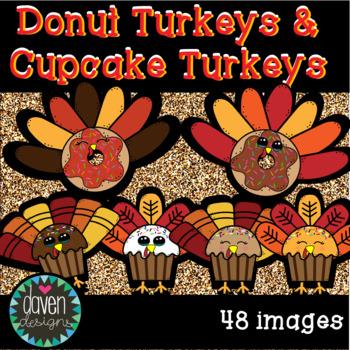 Donut Turkeys and Cupcake Turkeys Clip Art