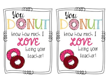 Donut Valentine's Day and Appreciation Cards!