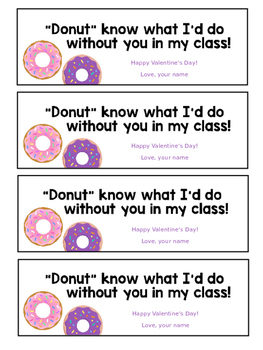 Donut Valentines *Valentines from the Teacher