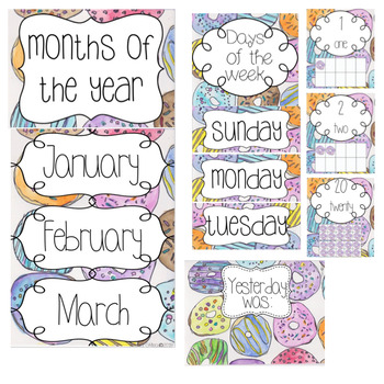 Donut Watercolor Theme Classroom Decor Package