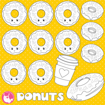Donut stamps commercial use, vector graphics, images  - DS870