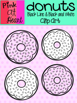 Donuts Clip Art: Black Line and Black and White