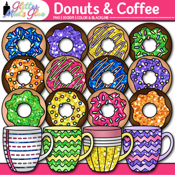 Donuts and Coffee Clip Art {Food Groups & Nutrition Graphics for Resources}