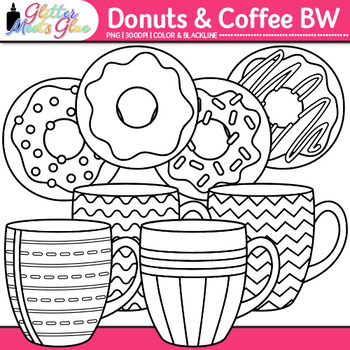 Donuts and Coffee Clip Art {Food Groups & Nutrition Graphics for Resources} B&W
