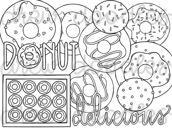 Donuts Digital Clip Art Set- Black Line Version