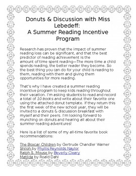 Donuts and Discussions: A Summer Reading Incentive Program