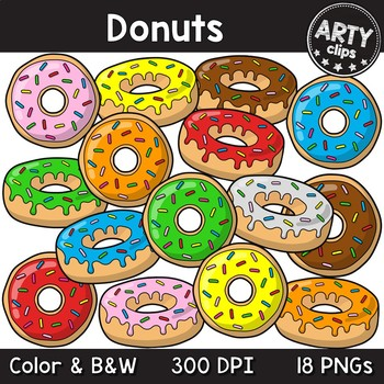 Donuts clipart (color + black & white) 18 PNG {Arty Clips}
