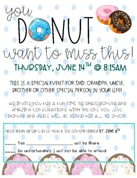 Donuts for Dad Invitation