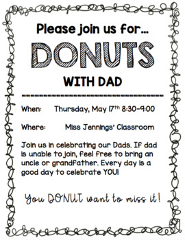 Editable Donuts with Dad Invite