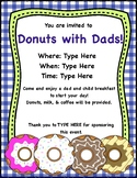 Donuts with Dads! Editable Invitation and Reminders Notes