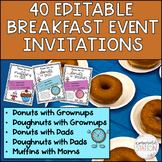 Donuts for Dads/Muffins for Moms/Donuts with Grownups *EDITABLE* Invitations