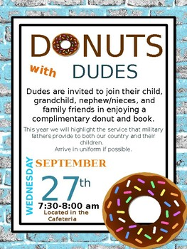 Donuts with Dudes Editable Event Flyer