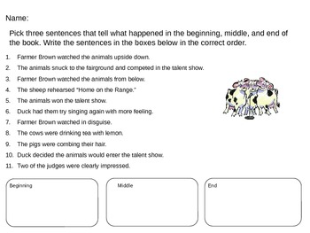 Dooby Dooby Moo Summary Activity
