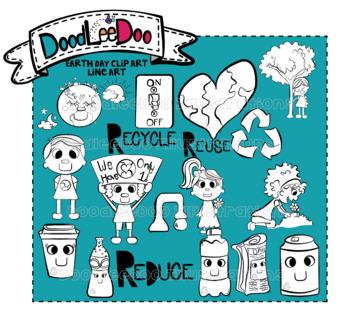 DoodLeeDoo Earth Day Line Art