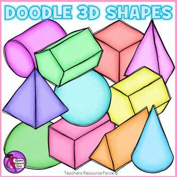 Doodle 3D Shapes clip art clipart