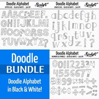 Doodle Alphabet Bundle ~ B&W