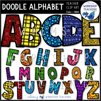 Doodle Alphabet Clip Art - Whimsy Workshop Teaching