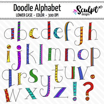 Doodle Alphabet ~ Lower Case ~ Color