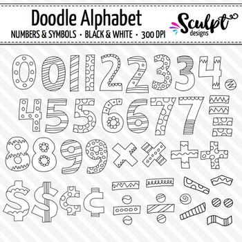 Doodle Alphabet ~ Numbers & Symbols ~ B&W