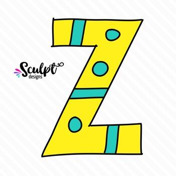 Doodle Alphabet ~ Upper Case Letters ~ Color