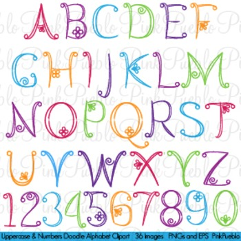 Doodle Alphabet, Uppercase and Numbers - Commercial and Personal Use