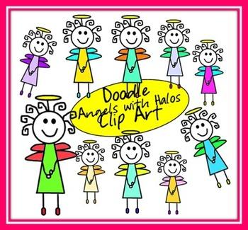 Doodle Angels Clip Art