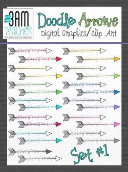 Doodle Arrows Clip Art Set: Style 1