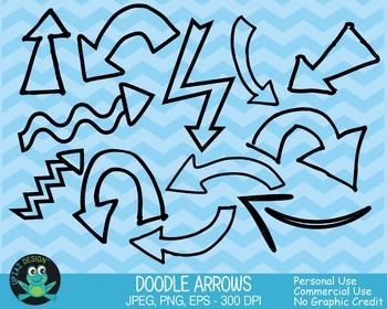 Black Doodle Arrows Clipart {Upzaz Digital Clipart}